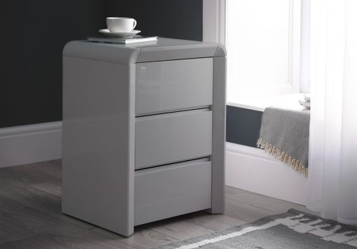 Ice High Gloss 3 Drawer Bedside - Grey