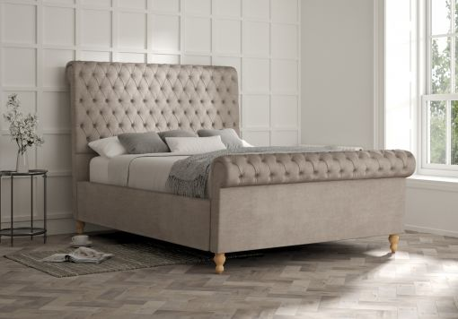Aldwych Naples Silver Upholstered Sleigh Bed Only