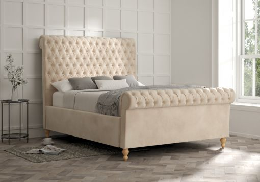 Aldwych Savannah Almond Upholstered Sleigh Bed Only