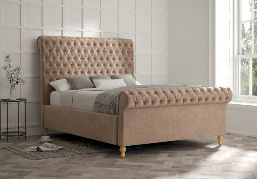 Aldwych Savannah Mocha Upholstered Sleigh Bed Only