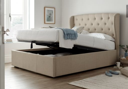 Ancona King Size Upholstered Winged Ottoman Storage Bed -  Natural