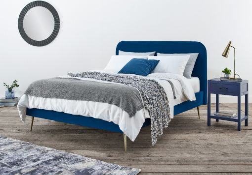 Elona Navy Blue Velvet Upholstered Bed Frame