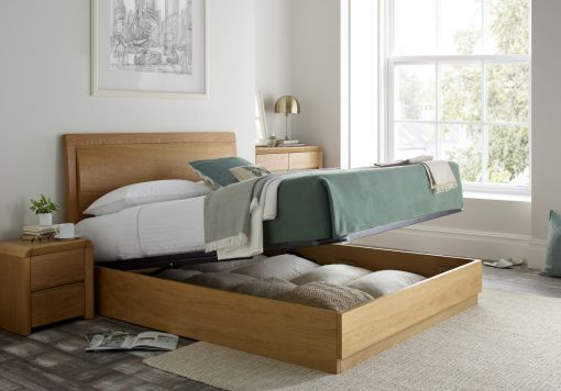 Arran Oak Ottoman Storage Bed