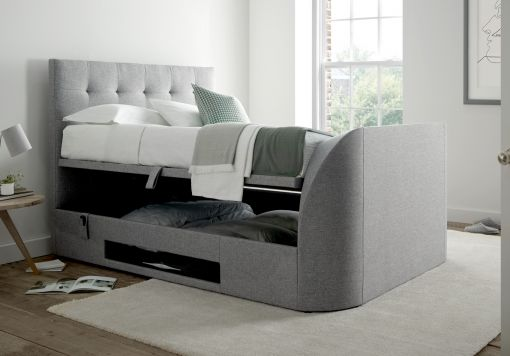 Kaydian Barnard TV Ottoman Storage Bed - Marbella Grey Fabric