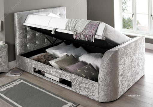 Kaydian Barnard TV Ottoman Storage Bed - Silver Crush Fabric
