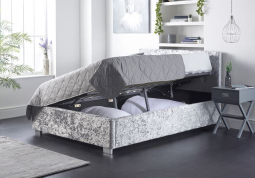 Essentials Upholstered Ottoman Silver Crush Bed Frame
