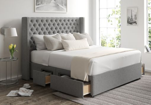 Bella Classic 4 Drw Continental Arran Pebble Headboard and Base Only