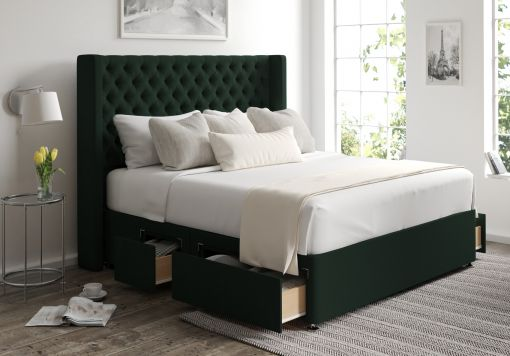 Bella Classic 4 Drw Continental Gatsby Forest Headboard and Base Only