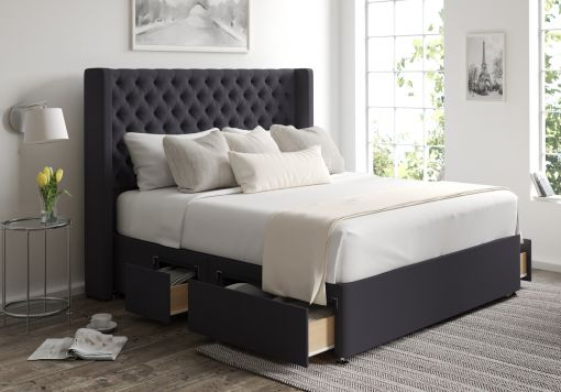 Bella Classic 4 Drw Continental Gatsby Gun Metal Headboard and Base Only