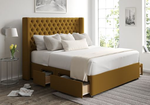 Bella Classic 4 Drw Continental Gatsby Ochre Headboard and Base Only
