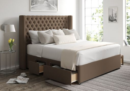Bella Classic 4 Drw Continental Gatsby Taupe Headboard and Base Only