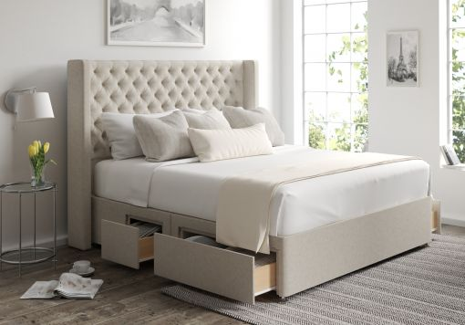 Bella Classic 4 Drw Continental Trebla Flax Headboard and Base Only