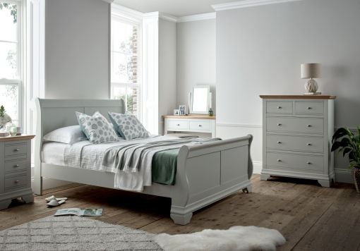 Bayford Sleigh Grey Wooden Bed Frame
