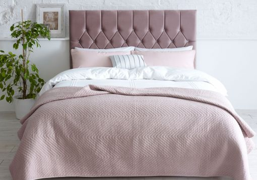 Catherine Lansfield Boutique Blush Upholstered Bed Frame Only