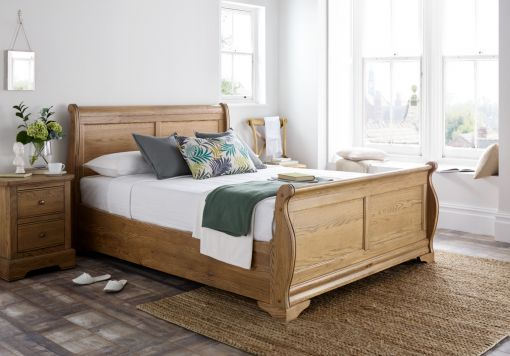 Bordeaux Oak Wooden Sleigh Bed