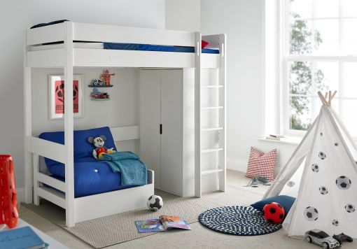 Modena High Sleeper Bed Frame with Compact Wardrobe & Blue Chair Bed