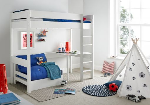 Modena High Sleeper Bed Frame with Desk & Blue Chair Bed