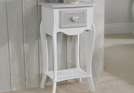 Brittany White/Grey 1 Drawer Bedside Cabinet