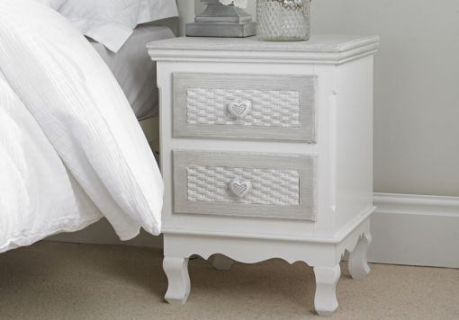 Brittany White/Grey 2 Drawer Bedside Cabinet