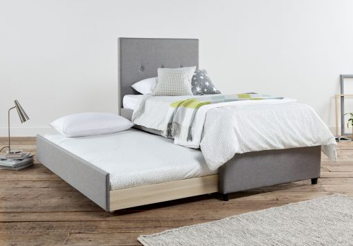 Capri Fossil Grey Upholstered Guest Bed Frame