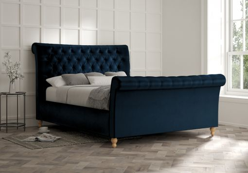 Cavendish Velvet Navy Upholstered Sleigh Bed Only