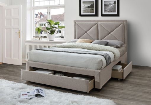 Ava Upholstered 3 Drawer Storage Bed - Mink