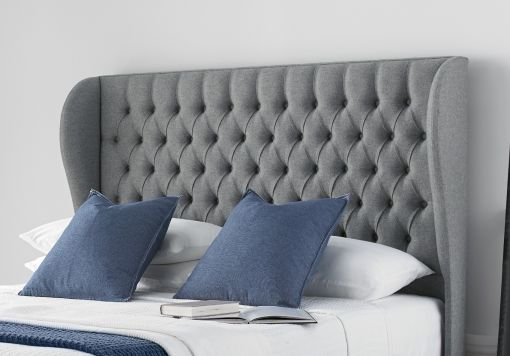 Chesterfield Winged Floor Standing Upholstered Headboard