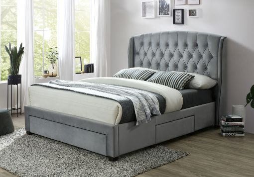 Elise Grey Winged Upholstered Drawer Storage Bed Frame Only