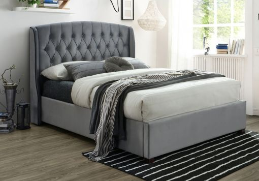 Lucia Grey Winged Upholstered Bed Frame Only