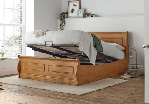 Marseille New Oak Wooden Ottoman Storage Double Bed Frame Only