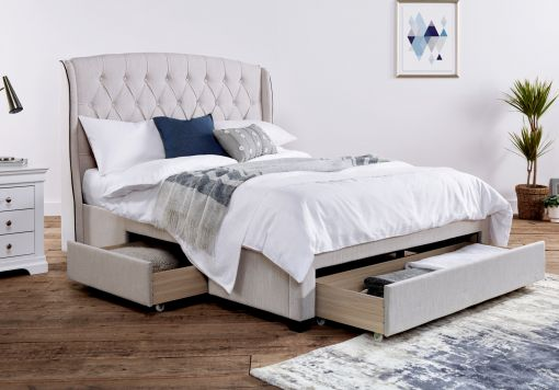 Elise Stone Winged Upholstered Drawer Storage Bed Frame Only