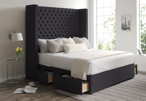 Emma Classic 4 Drw Continental Gatsby Gun Metal Headboard and Base Only