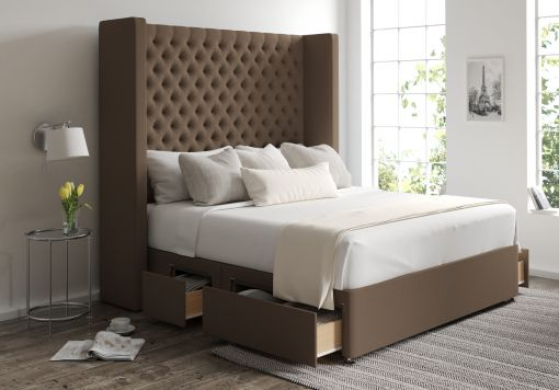 Emma Classic 4 Drw Continental Gatsby Taupe Headboard and Base Only