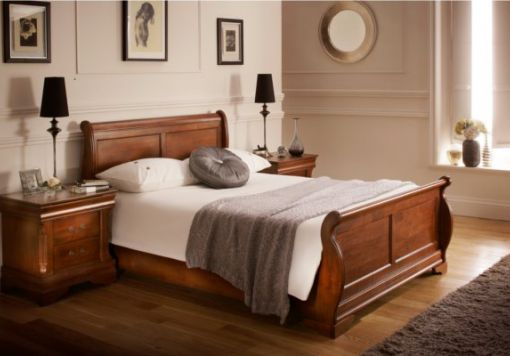 Louie Dark Wooden Sleigh Bed
