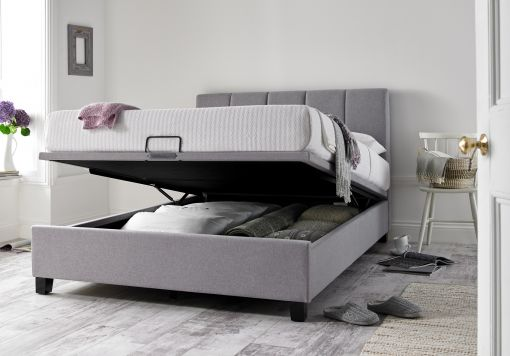Florence Wolf Grey Upholstered Ottoman Bed Frame