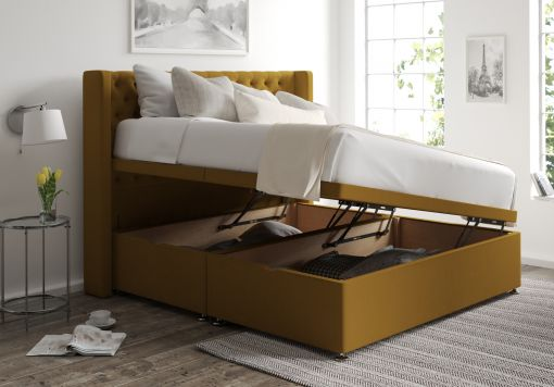 Bella Ottoman Gatsby Ochre Headboard and Base Only