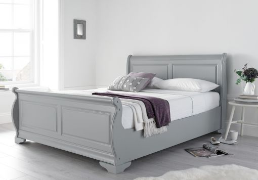 Louie Wooden Sleigh Bed - Grey