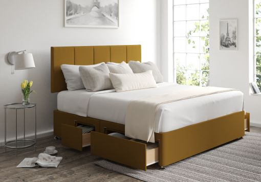 Hannah Classic 4 Drw Continental Gatsby Ochre Headboard and Base Only