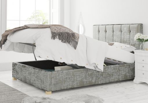 Hemsley Ottoman Distressed Velvet Platinum Bed Frame Only