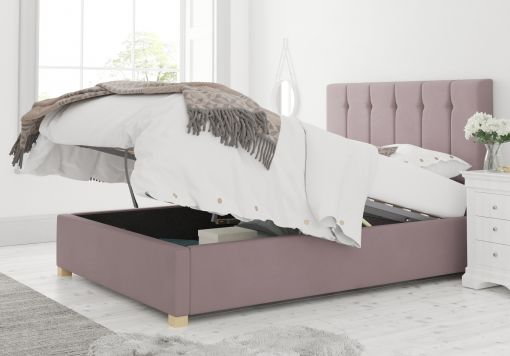 Hemsley Ottoman Plush Velvet Blush Bed Frame Only