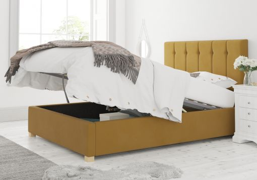 Hemsley Ottoman Plush Velvet Ochre Bed Frame Only