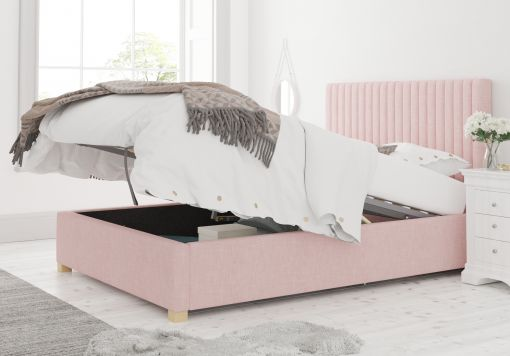 Levisham Ottoman Pastel Cotton Tea Rose Bed Frame Only