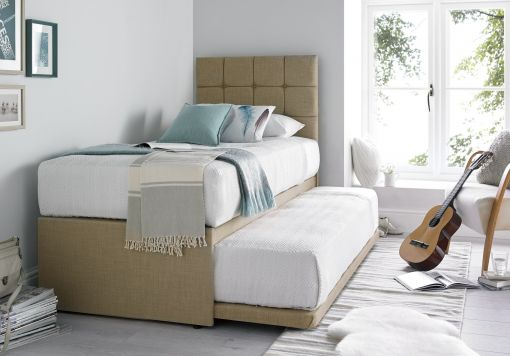 Partners Linoso Sand Upholstered Guest Bed With Mattresses