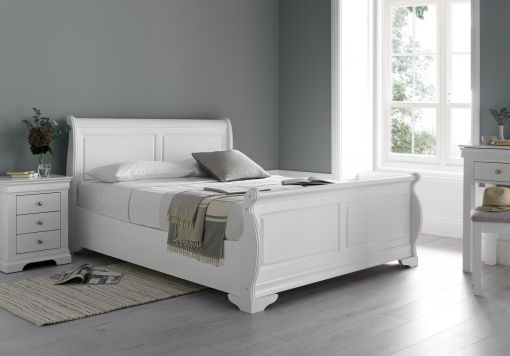 Louie Sleigh Bed - Polar White - NEW