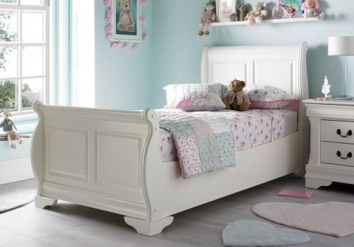 Louie Solo Sleigh Bed -  Polar White