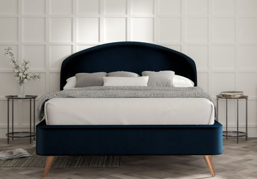 Lunar Velvet Navy Upholstered Bed Frame Only