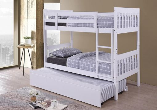 Harmony Lydia White Wooden Bunk Bed Including Underbed