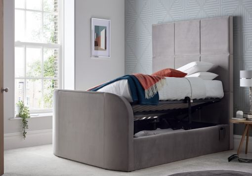 Somerton Grey Upholstered TV King Size Bed Frame Only