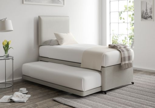 Cheltenham Malia Silver Upholstered Guest Bed With Mattresses