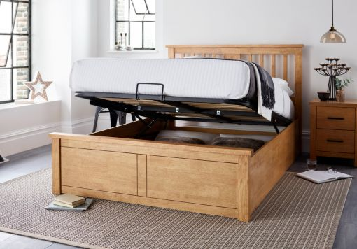 Malmo New Oak Finish Wooden Ottoman Storage Bed